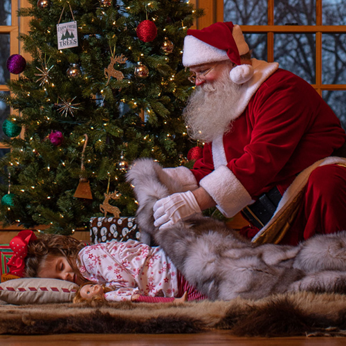 santa with Muscalus fur present